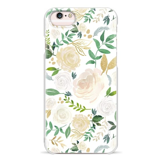 iPhone 6s Cases - White and Gold Floral