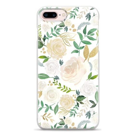 iPhone 7 Plus Cases - White and Gold Floral