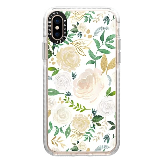 iPhone XS Cases - White and Gold Floral