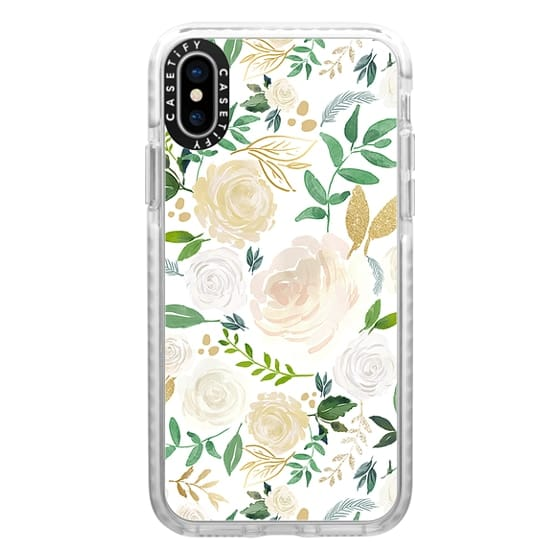 iPhone X Cases - White and Gold Floral