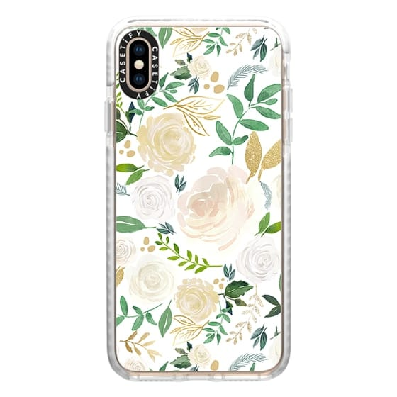 iPhone XS Max Cases - White and Gold Floral
