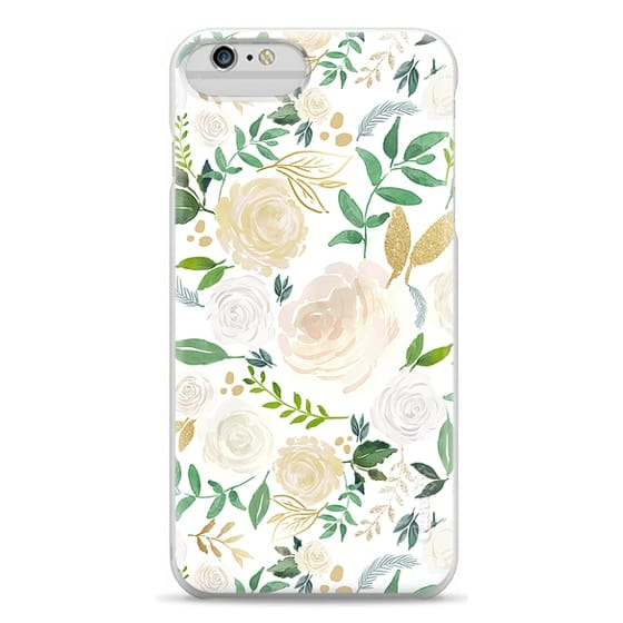iPhone 6 Plus Cases - White and Gold Floral