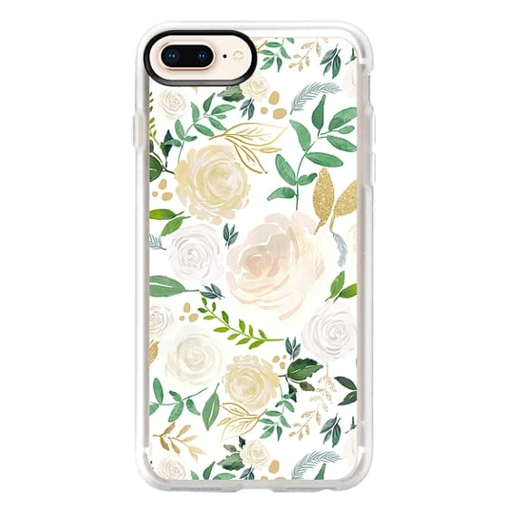 iPhone 8 Plus Cases - White and Gold Floral