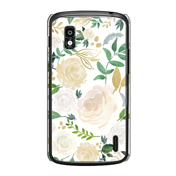 Nexus 4 Cases - White and Gold Floral