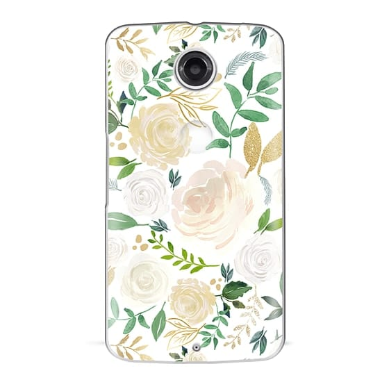 Nexus 6 Cases - White and Gold Floral