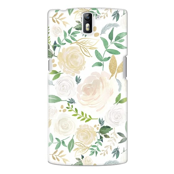 One Plus One Cases - White and Gold Floral
