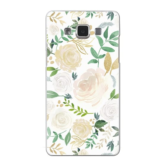 Samsung Galaxy A5 Cases - White and Gold Floral