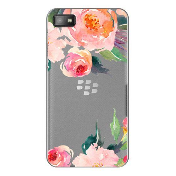 Blackberry Z10 Cases - Watercolor Floral Detail Pink Transparent