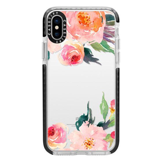 iPhone X Cases - Watercolor Floral Detail Pink Transparent