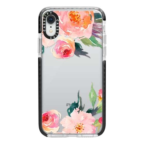 iPhone XR Cases - Watercolor Floral Detail Pink Transparent
