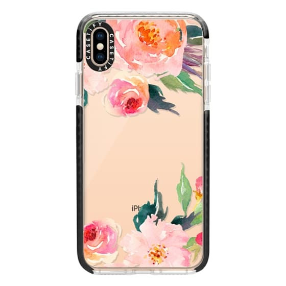 iPhone XS Max Cases - Watercolor Floral Detail Pink Transparent
