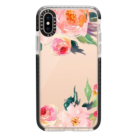 iPhone XS Cases - Watercolor Floral Detail Pink Transparent