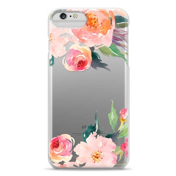 iPhone 6 Plus Cases - Watercolor Floral Detail Pink Transparent