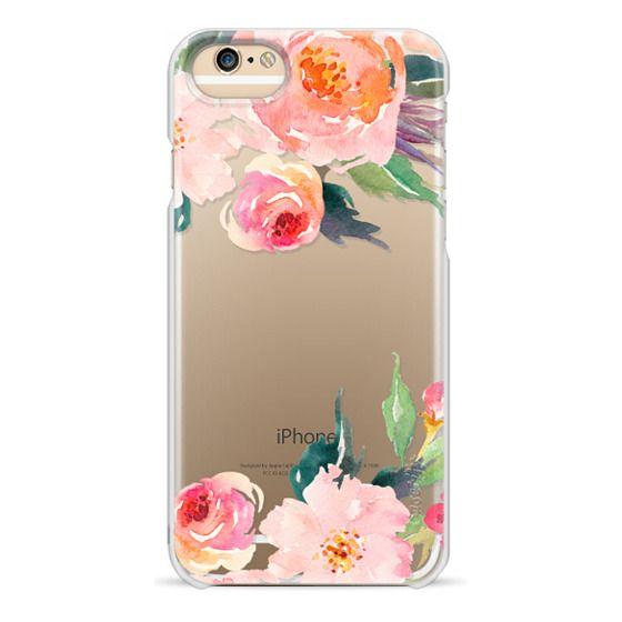 iPhone 6 Cases - Watercolor Floral Detail Pink Transparent