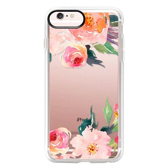 iPhone 6s Plus Cases - Watercolor Floral Detail Pink Transparent
