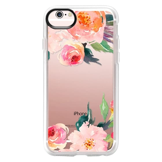 iPhone 6s Cases - Watercolor Floral Detail Pink Transparent