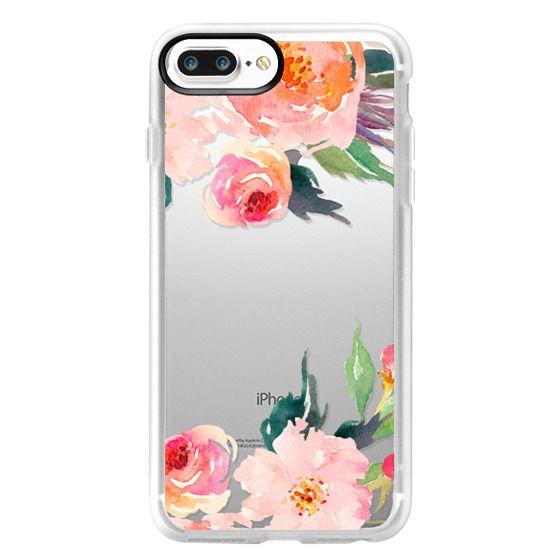 iPhone 7 Plus Cases - Watercolor Floral Detail Pink Transparent