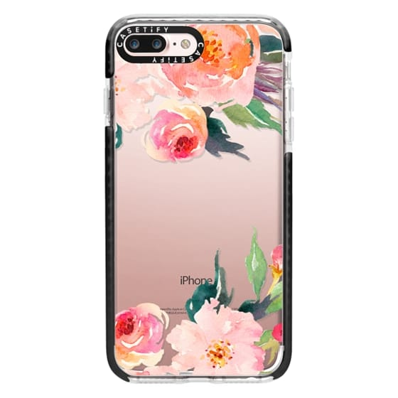 iPhone 7 Plus Cases - Watercolor Floral Detail Pink Transparent