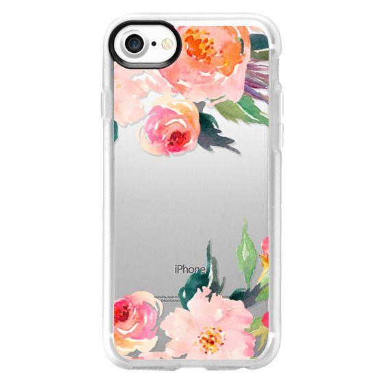iPhone 7 Cases - Watercolor Floral Detail Pink Transparent