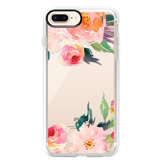 iPhone 8 Plus Cases - Watercolor Floral Detail Pink Transparent