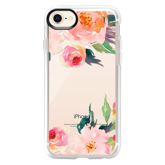 iPhone 8 Cases - Watercolor Floral Detail Pink Transparent