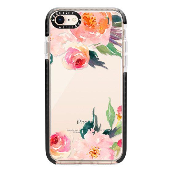 iPhone 8 Cases - Watercolor Floral Detail Pink Transparent