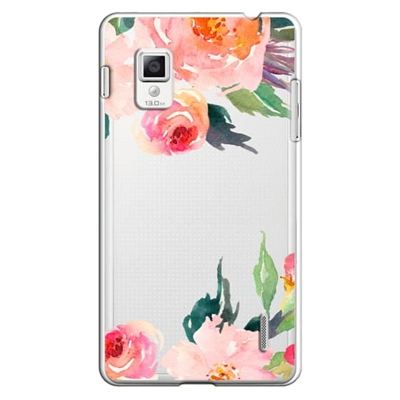 Optimus G Cases - Watercolor Floral Detail Pink Transparent