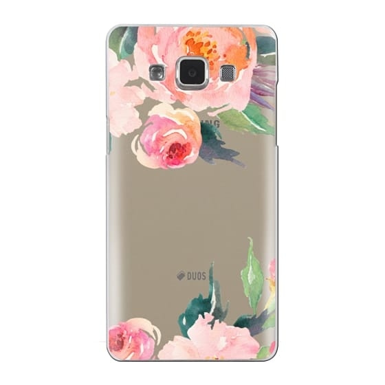 Samsung Galaxy A5 Cases - Watercolor Floral Detail Pink Transparent