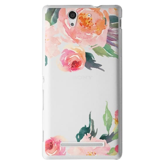 Sony C3 Cases - Watercolor Floral Detail Pink Transparent
