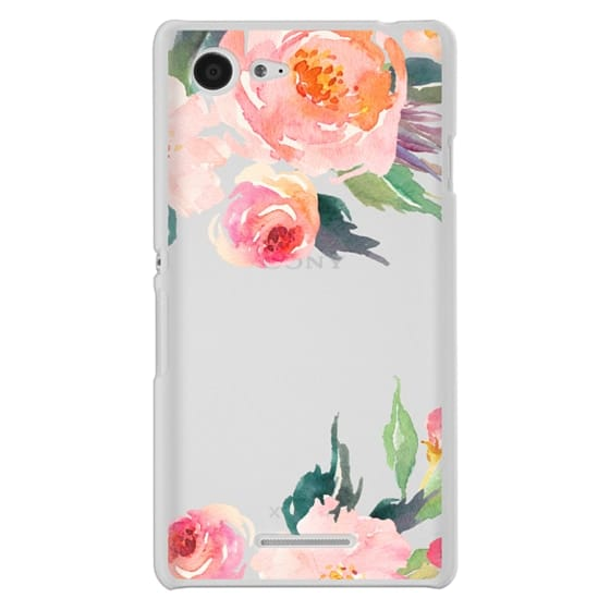 Sony E3 Cases - Watercolor Floral Detail Pink Transparent
