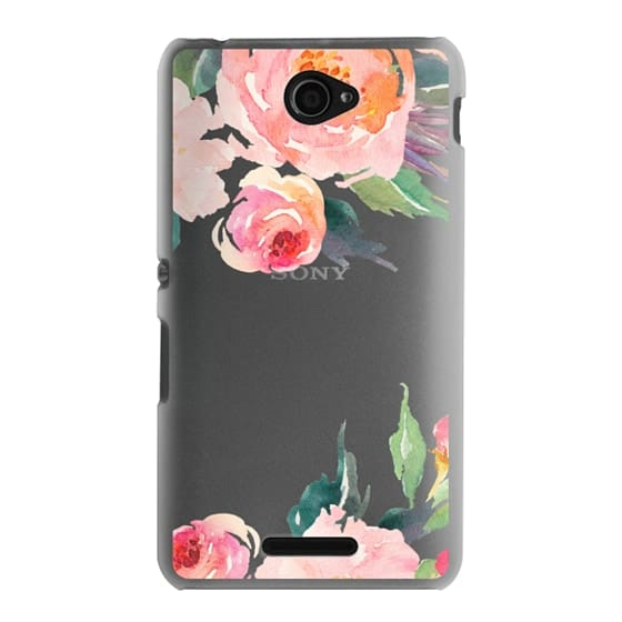 Sony E4 Cases - Watercolor Floral Detail Pink Transparent