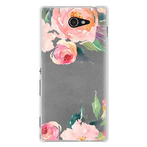 Sony M2 Cases - Watercolor Floral Detail Pink Transparent