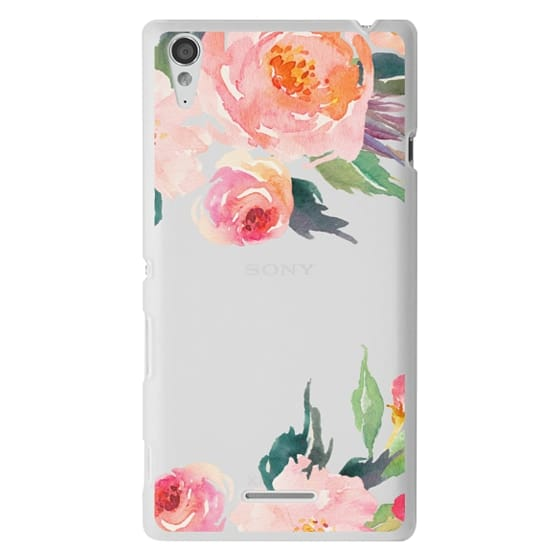 Sony T3 Cases - Watercolor Floral Detail Pink Transparent