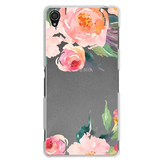 Sony Z3 Cases - Watercolor Floral Detail Pink Transparent