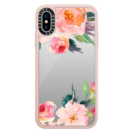 iPhone X Cases - Watercolor Floral Detail Pink Transparent