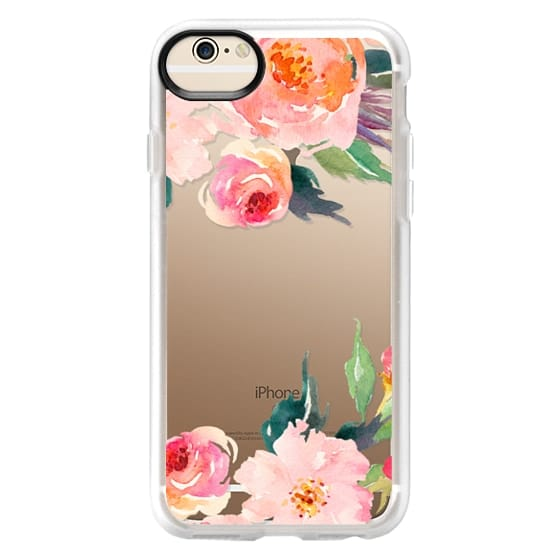 iPhone 6 Cases - Watercolor Floral Detail Pink Transparent