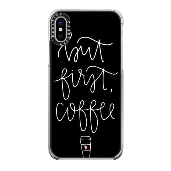 iPhone X Cases - but first coffee - black + mug