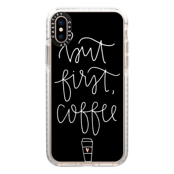 iPhone XS Cases - but first coffee - black + mug