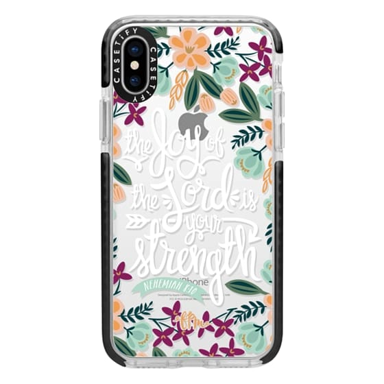iPhone X Cases - The Joy of the Lord - White Words