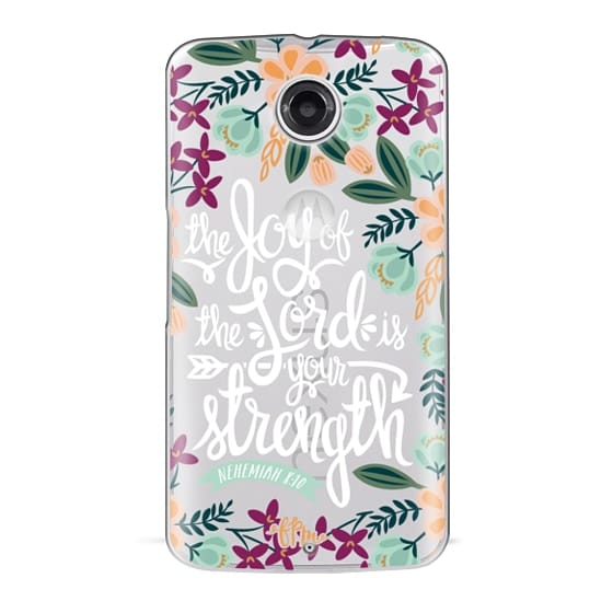 Nexus 6 Cases - The Joy of the Lord - White Words