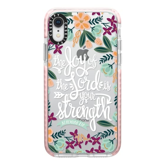 iPhone XR Cases - The Joy of the Lord - White Words