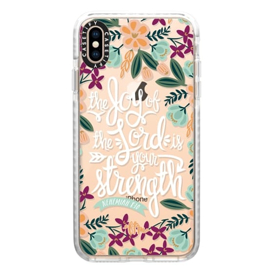 iPhone XS Max Cases - The Joy of the Lord - White Words
