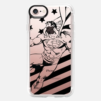 iPhone 7 ケース Superman in Action B&W