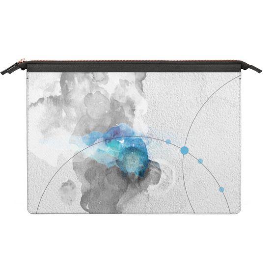 MacBook Air 11 Sleeves - Watercolor abstract black&white Blue