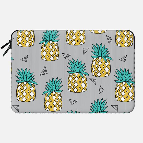 Pineapple - Summer Fruit Pattern design by Andrea Lauren - Macbook Sleeve