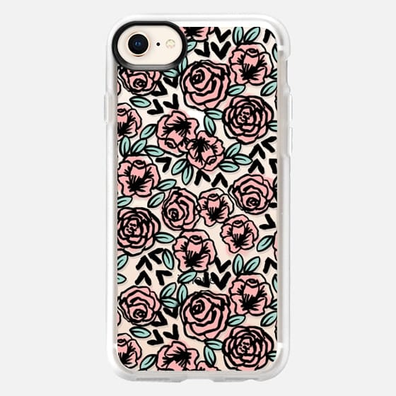 modern garden florals flowers pattern black and white transparent cell phone case pastel girly by andrea lauren  - Snap Case