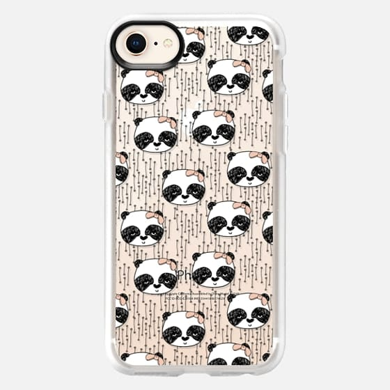 Panda with Bow - Cute girly panda pattern by Andrea Lauren - Snap Case