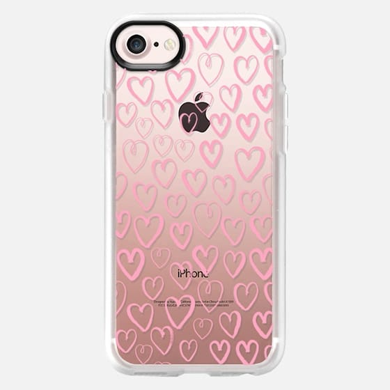 Pastel Pink hearts drawing minimal cell phone case for valentines day gifts -