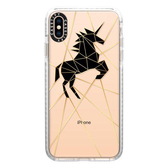 iPhone XS Max Cases - Geometric Unicorn Gold Luxe Noir