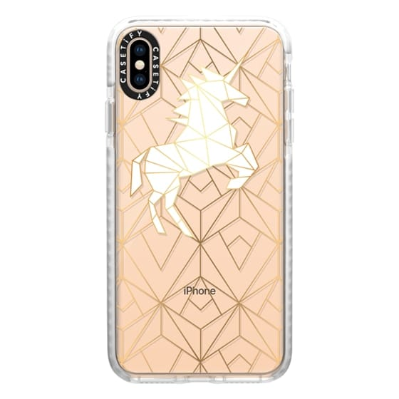 iPhone XS Max Cases - Geometric Unicorn Gold Luxe and White